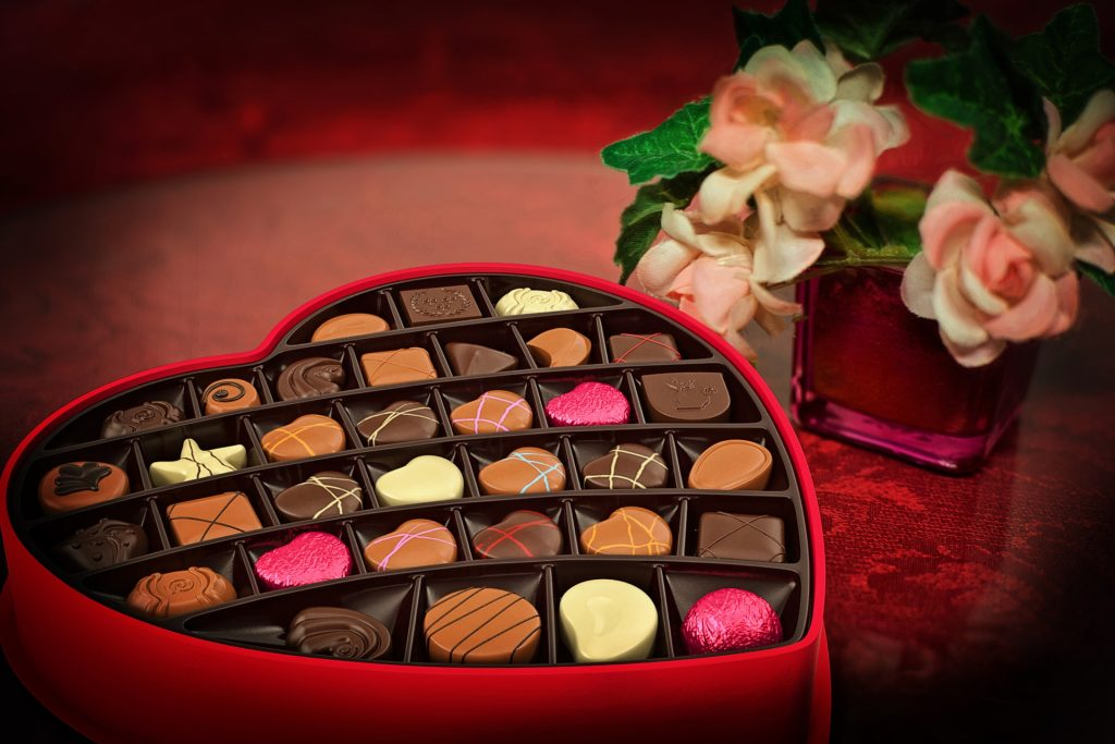 Romantic chocolates and flowers