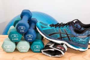 dumbells and exercise equipment