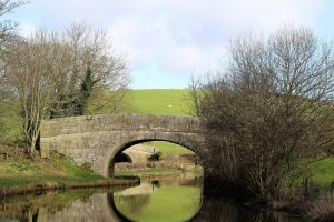 Lancashire canal with a bridge over