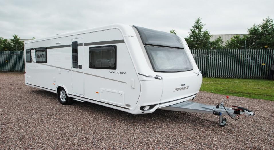 Hymer caravan parked outside Travelworld showroom