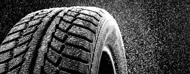 tyre thread being splashed with water