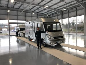 Ross Edwards, Managing Director of Travelworld and first Hymer in the new Travelworld Erwin Hymer Centre showroom in Stafford