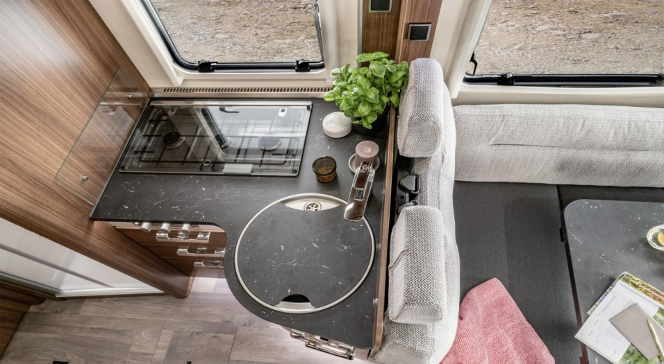 Hymer B Class kitchen and lounge area