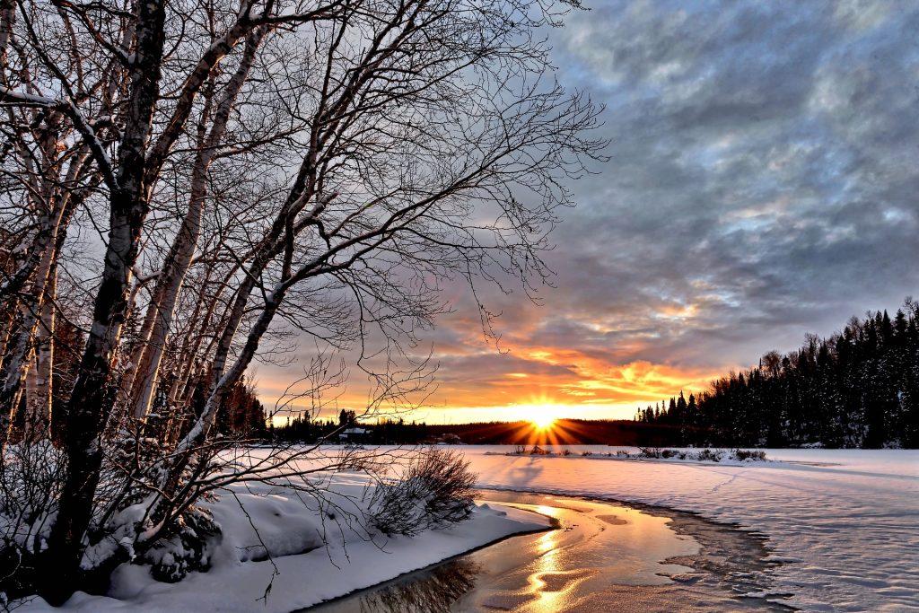 winter landscape with frozen river