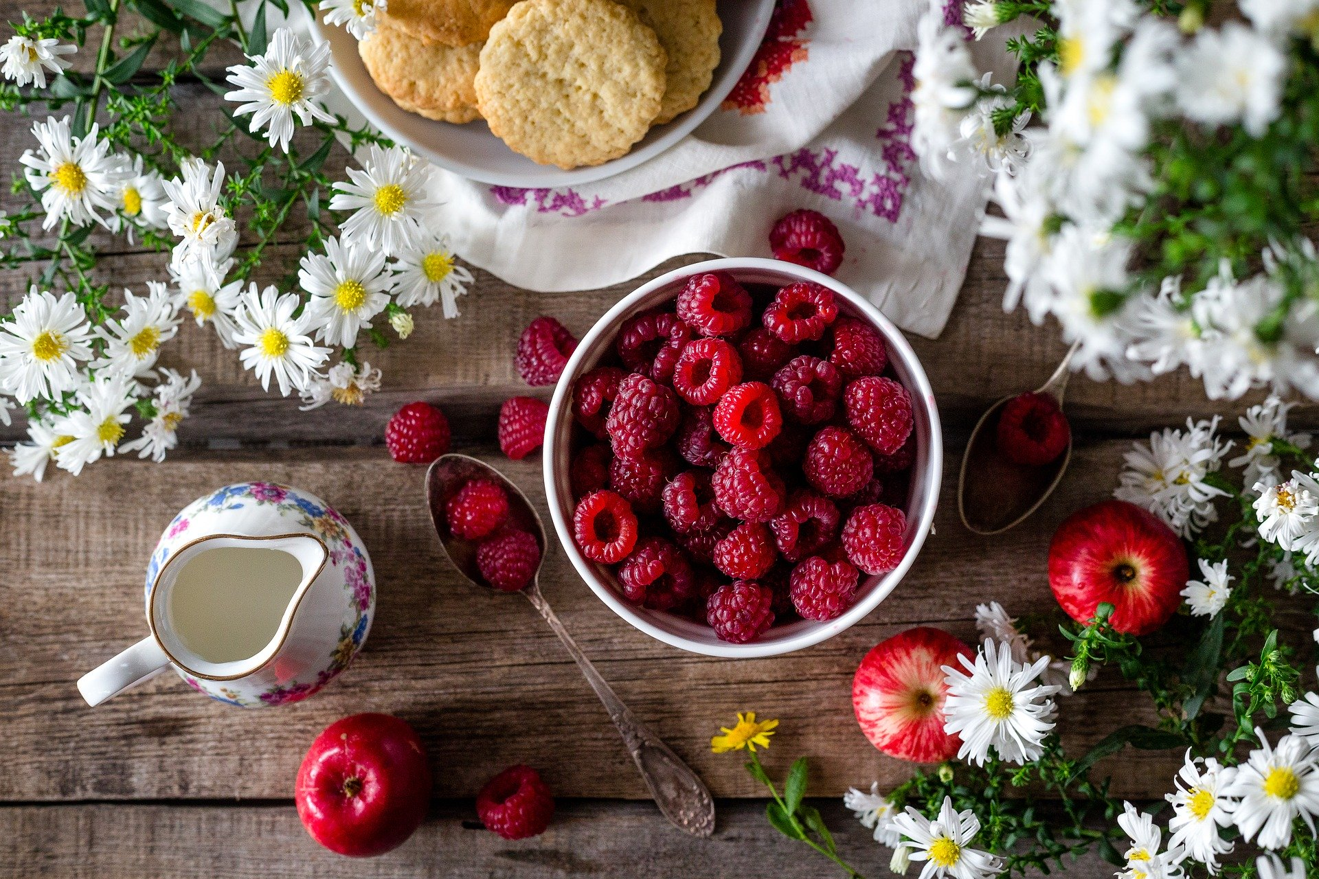 Raspberries and scones with cream