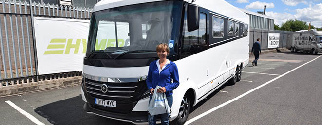 Customers picking up a campervan at Erwin Hymer Centre Travelworld